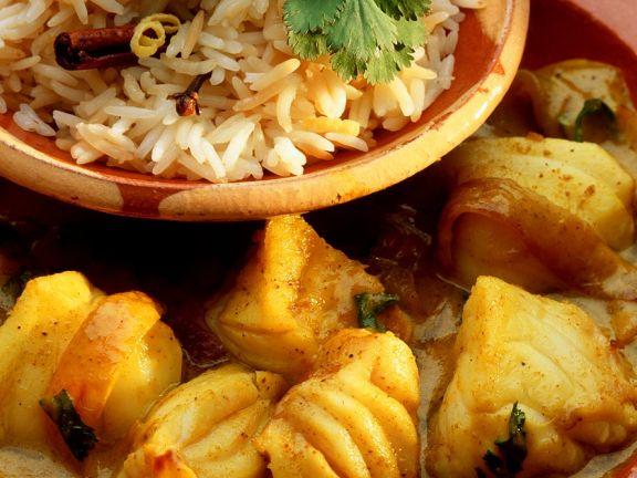 Fischcurry mit Reis