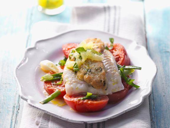 Fischfilet mit Limetten-Salsa und Schmortomaten