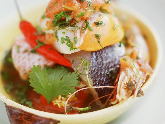 Fischsalat mit Muscheln und Langusten