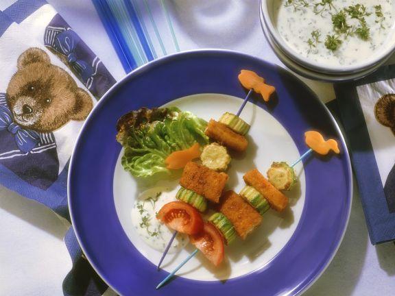 Fischstäbchen-Gemüsespieße
