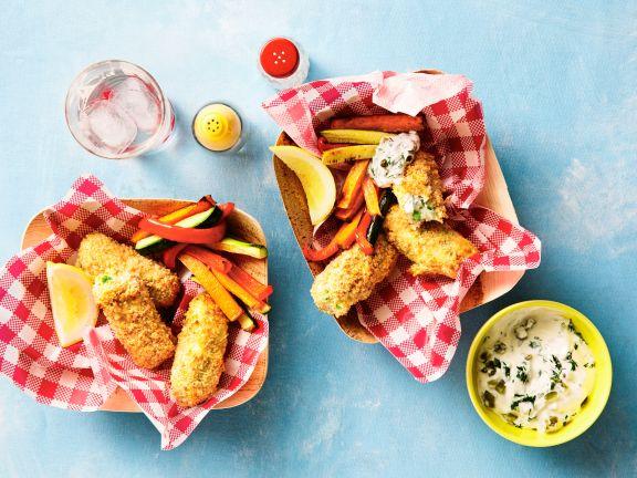 Fischstäbchen mit Gemüse und Joghurt-Dip
