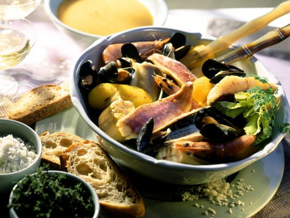 Fischsuppe mit Kräuterrouille