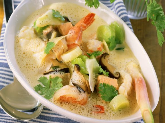 Fischsuppe mit Porree und Shiitake