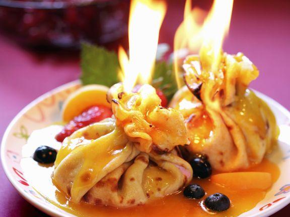 Flambierte Crêpesäckchen