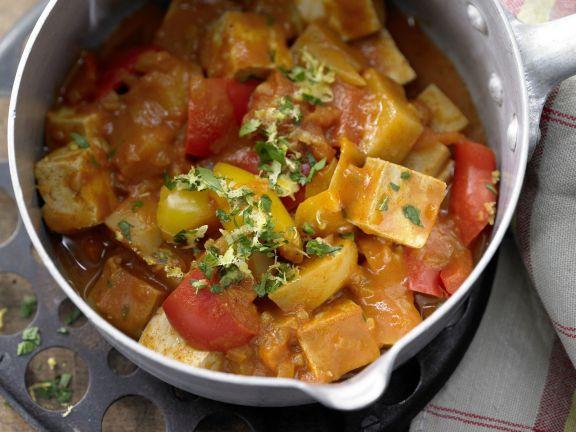 Fleisch ersetzen Tofu-Gulasch