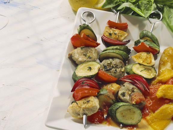 Fleisch-Gemüse-Spieße