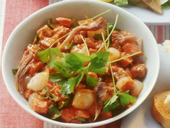 Fleischsalat mit Tomaten-Dressing