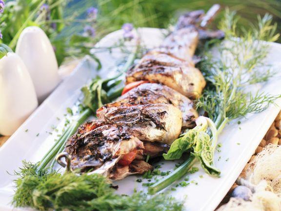 Forellen-Spieß mit Paprika vom Grill