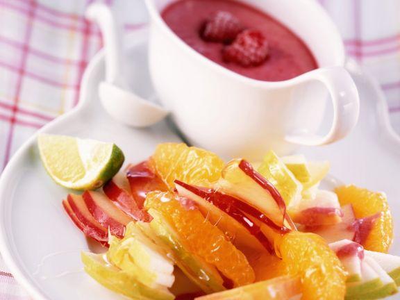Frischer Fruchtsalat mit Himbeerjoghurt