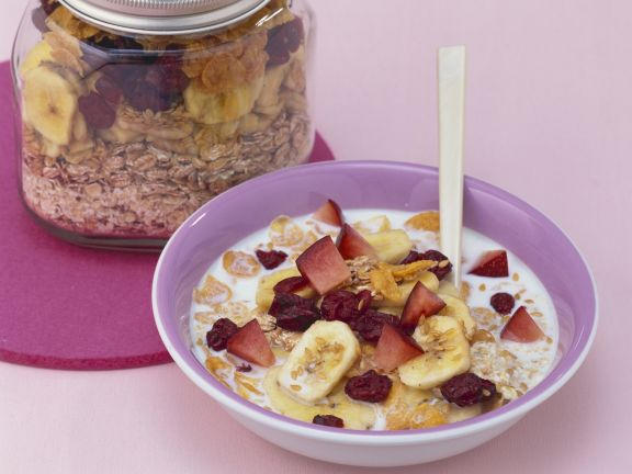 Frisches Müsli mit Trocken-Bananen und Cranberries