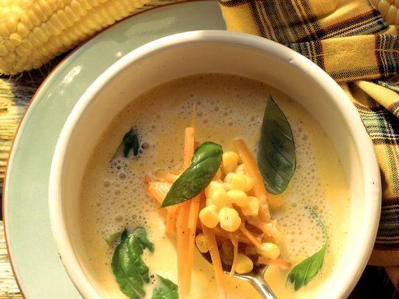 Frischkäse-Mais-Suppe mit Karotten
