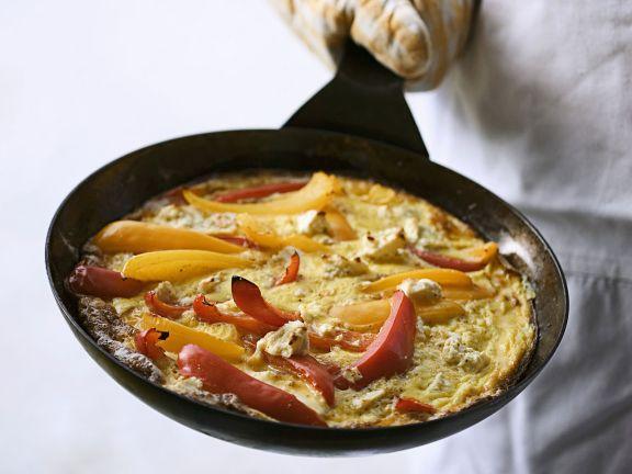 Fritatta mit Paprika und Schafskäse