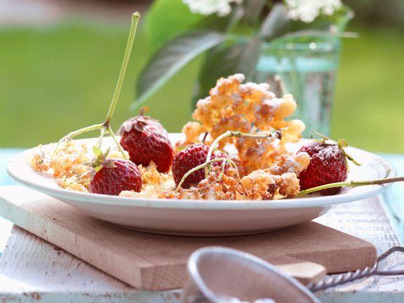 Frittierte Holunderblüten in Weinteig