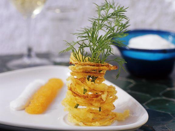 Frittierte Kartoffelspaghetti