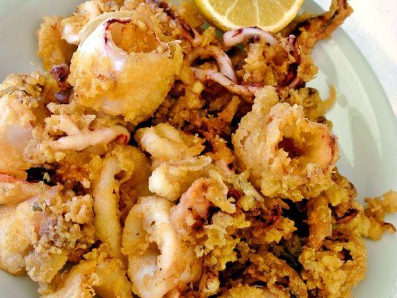Frittierte Tintenfische