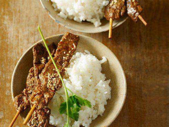 Frittierter Seitan auf Reis