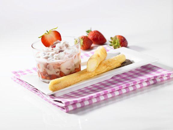 Frittierter Spargel mit Erdbeer-Mascarpone-Dessert