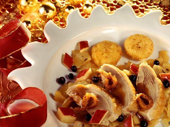 Fruchtige Ente mit Kartoffelplätzchen