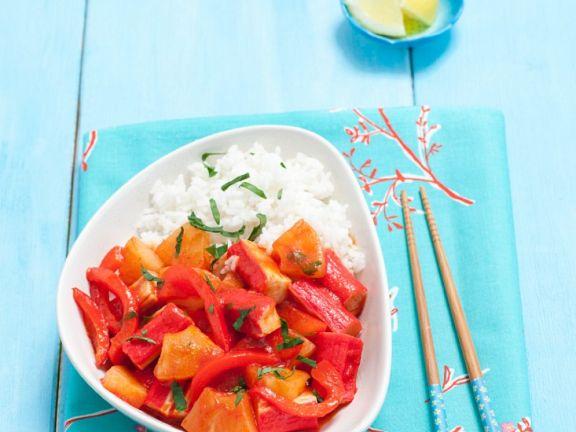 Fruchtige Paprika-Surimipfanne mit Reis