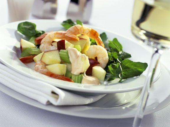 Fruchtiger Kressesalat mit Garnelen