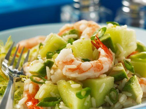 Fruchtiger Reis-Garnelensalat