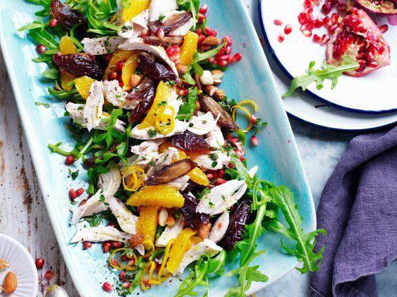 Fruchtiger Rucolasalat mit Hähnchen