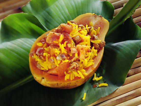 Fruchtiger Safranreis mit Fleisch