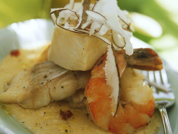 Garnelen-Fisch-Eintopf in Kokosmilch