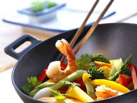 Garnelen-Gemüse-Wok