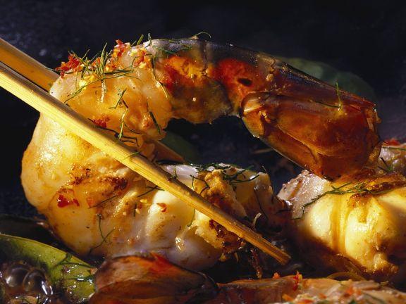 Garnelen mit Currypaste