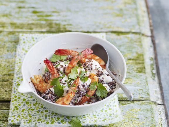 Garnelen mit Ricottacreme und Quinoa