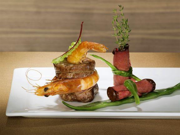 Garnelen-Rinderfilets und Roastbeef-Röllchen