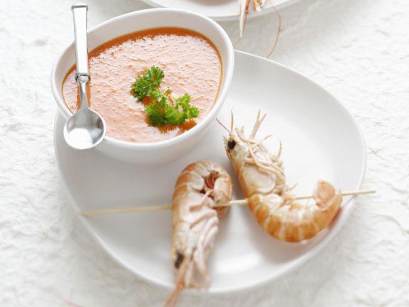 Gazpacho mit Shrimps