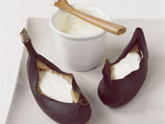 Gebackene Bananen mit Quark