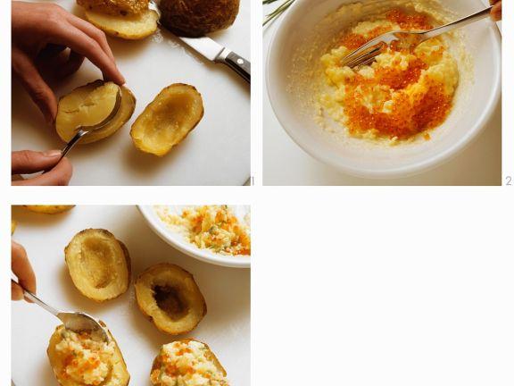 Gebackene Kartoffeln mit Kaviar