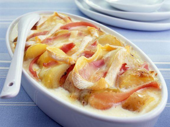 Gebackene Kartoffeln mit Schinken