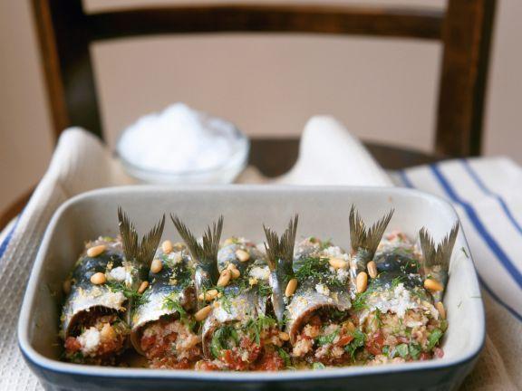 Gebackene Sardinenrouladen mit Pinienkernen