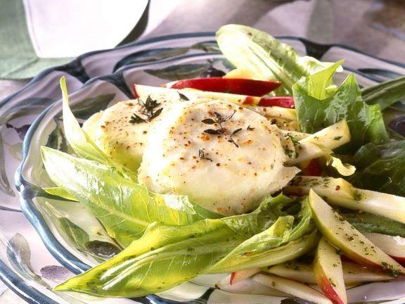 Gebackene Ziegenkäsetaler mit Salat