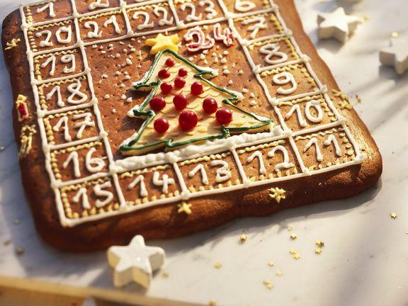 Gebackener Adventskalender aus Lebkuchen