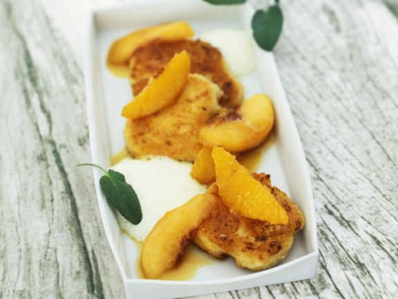 Gebackener Ziegenkäse mit Pfirsichen und Olivenöljoghurt