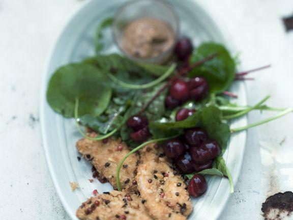 Gebackenes Perlhuhn mit Salat aus Sauerkirschen