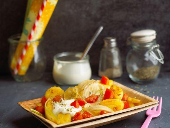Gebratene Gnocchi mit Gemüse