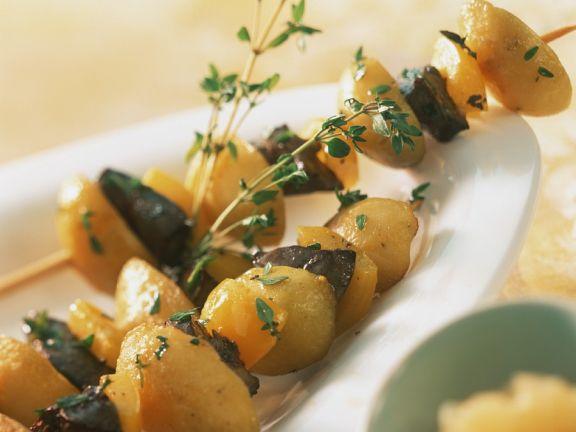 Gebratene Leber-Kartoffelspieße