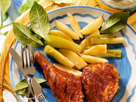 Gebratenen Hähnchenschenkel mit Süßkartoffeln und Dip