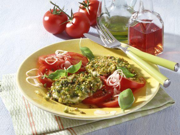 Gebratener Mozzarella in Pistazien-Thymian-Panade