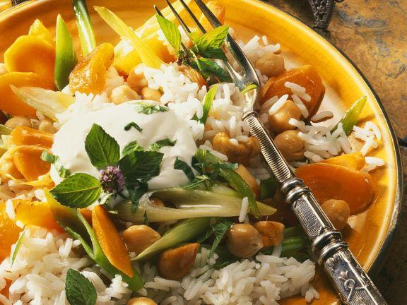 Gebratener Reis mit Kichererbsen