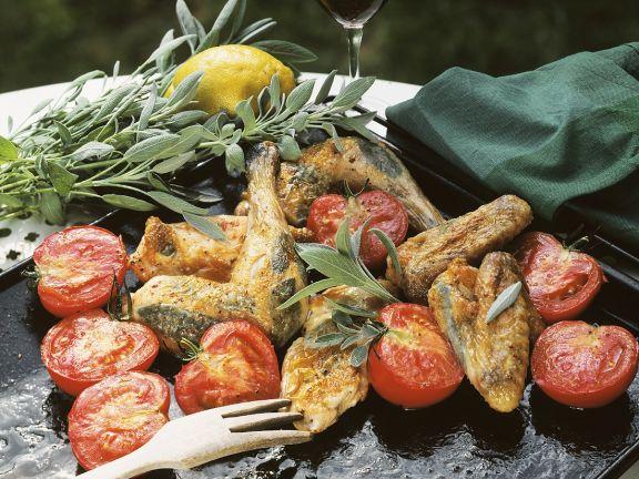 Gebratenes Hähnchen mit Salbei