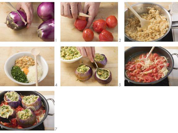 Gefüllte Auberginen mit Tomatensauce