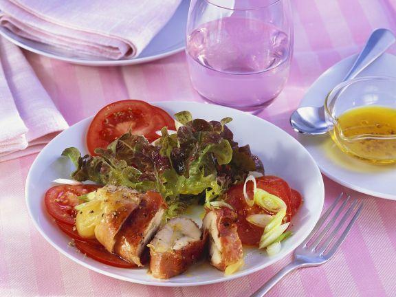 Gefüllte Hähnchenbrust mit Salat