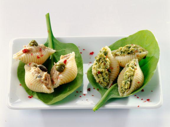 Gefüllte Muschelnudeln mit Thunfisch und Pesto